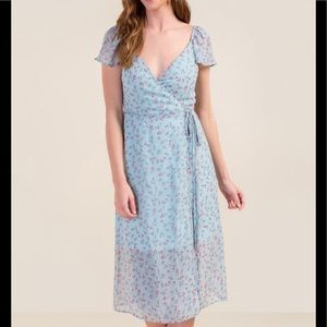 New! Francesca's Blue Wrapped MIDI Dress